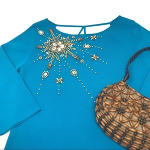 KIKIT Turquoise Cowrie Shell and Beaded Sweater